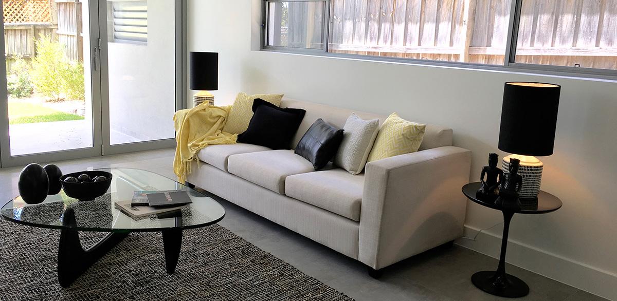 living room sydney property styling